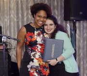 A student award presenter and recipient