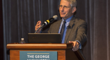 Anthony S. Fauci, MD, director of the National Institute of Allergy and Infectious Diseases at the National Institutes of Health, at the GW School of Medicine and Health Sciences Clinical Public Health Summit on HIV/AIDS