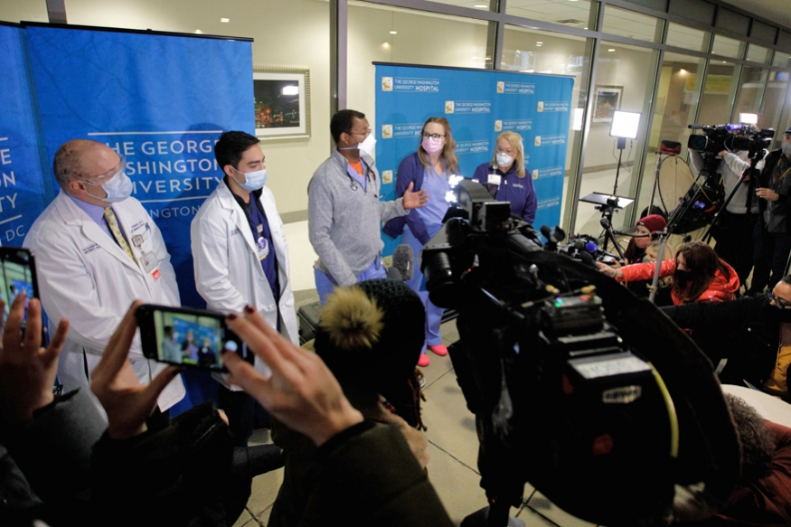 Vaccine Recipients speak to the media