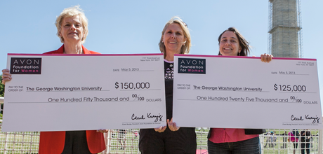 The Avon Foundation presented grants to Patricia Berg, Ph.D., professor of biochemistry and molecular medicine, and Mandi Pratt-Chapman, M.A., associate director of GW Cancer Institute Community Programs