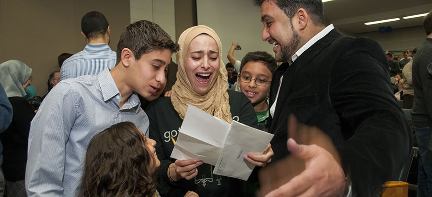 Dalya Elhady, MD '15, celebrates being matched to her first choice residency program with her family.