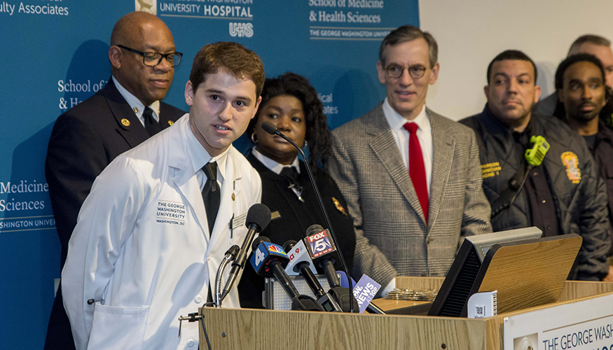 Brandon Glousman, first-year M.D. student at SMHS, was recognized for his role in saving Officer Angelia Boddie's life