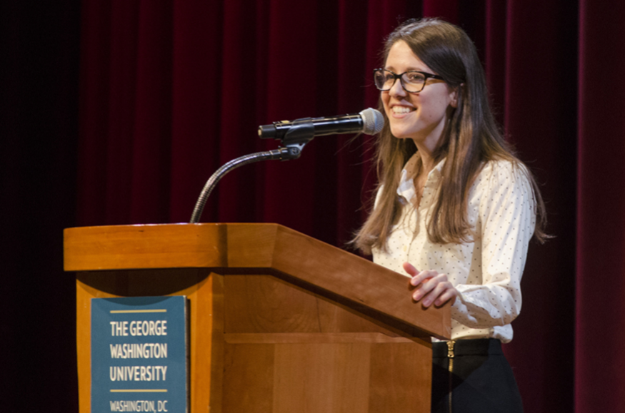Second-year MD student and third-place William H. Beaumont Medical Society Student Research award winner Christina Pugliese presents her research.