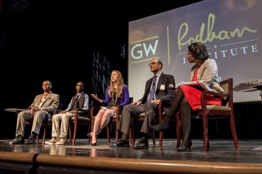 Marcus Andrews, Vertez Utley, Chelsea Clinton, Howell Wechsler, Ed.D., and moderator Rea Blakely discuss childhood obesity at the third annual Rodham Summit.
