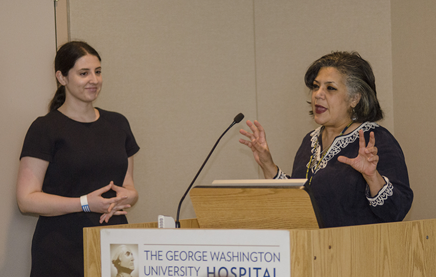 "Sara Mutnick, Rodham Institute program manager, and Jehan ""Gigi"" El-Bayoumi, M.D., founding director of the Rodham Institute"