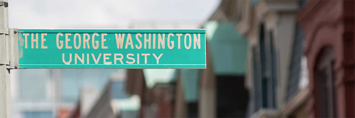 street sign labeled The George Washington University
