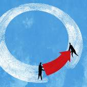Illustration of two people holding a red arrow