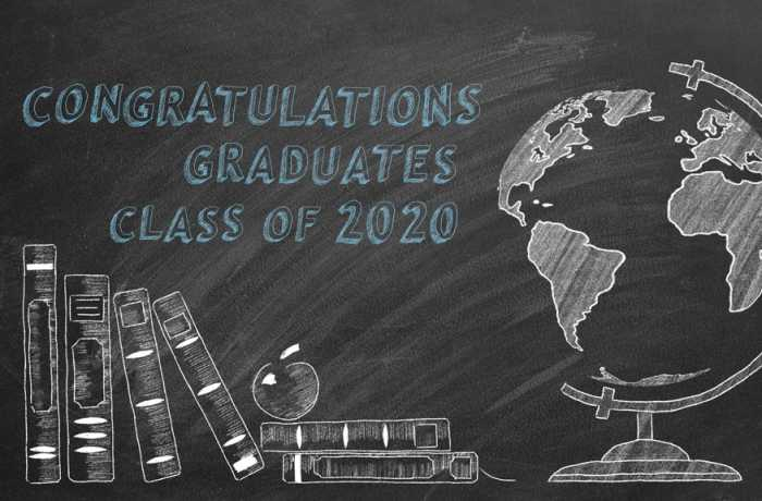 Chalkboard drawing of books and globe congratulating Class of 2020