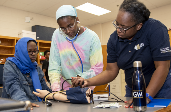 TC Williams High School students learning to take blood pressure