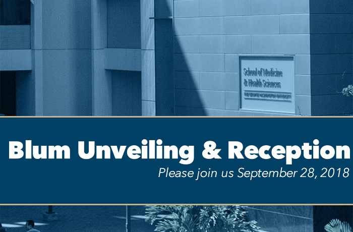 Blum Unveiling and Reception Event Banner
