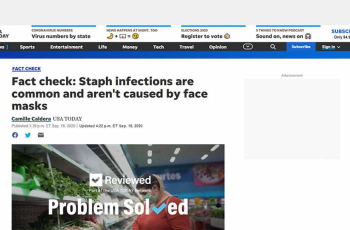 USA Today - Staph Infections are Common and Aren't Caused by Face Masks