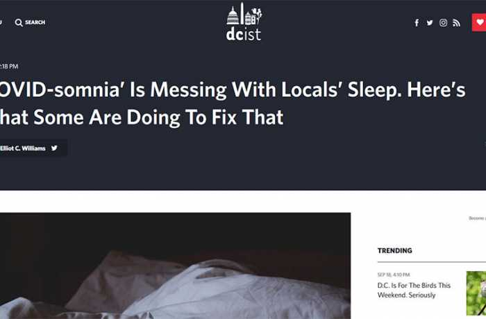 DCist - 'COVID-somnia' Is Messing With Locals' Sleep