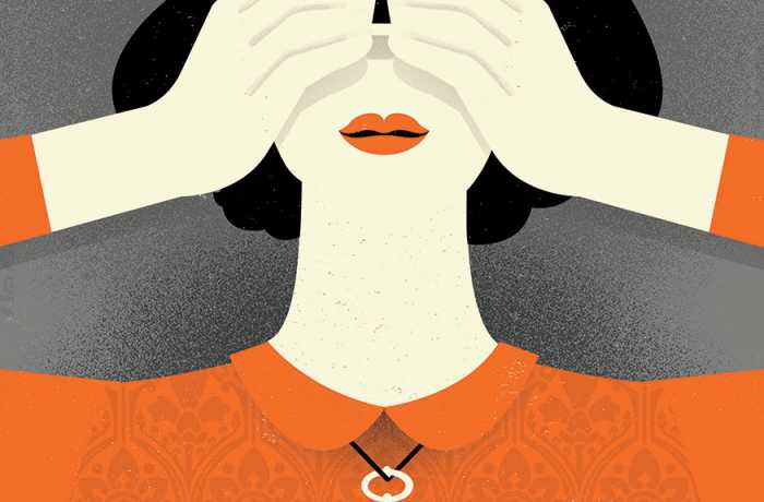 Illustration of a woman with a key necklace covering her eyes