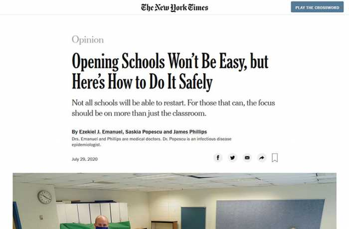 The New York Times - Opening Schools Won't Be Easy, but Here's How to Do It Safely