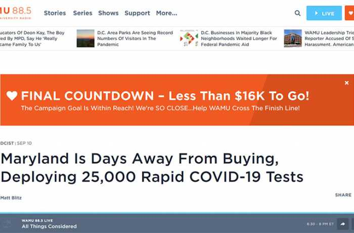 WAMU - Maryland Is Days Away From Buying, Deploying 25,000 Rapid COVID-19 Tests