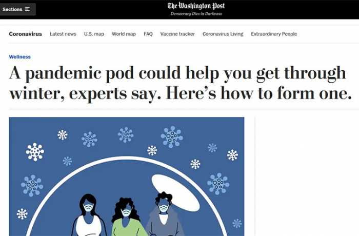 The Washington Post - A Pandemic Pod Could Help You Get Through Winter, Experts Say