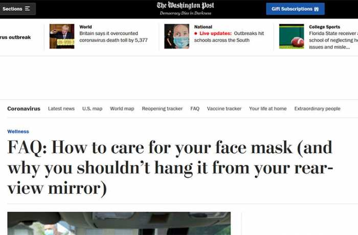 The Washington Post - FAQ: How to Care for Your Face Mask