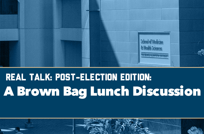 REAL Talk: Post-Election Edition A Brown Bag Lunch Discussion Event Banner