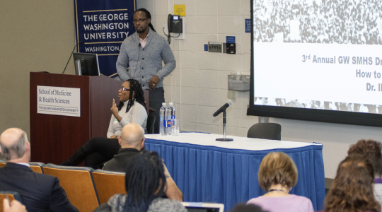 Ibram X. Kendi, PhD, presenting the 3rd Annual George Washington University School of Medicine and Health Sciences (SMHS) Dr. Martin Luther King Jr. Lecture