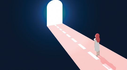 Illustration, patient on a dark road with a bright opening ahead