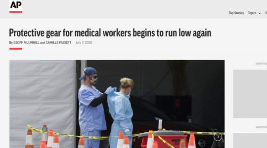 Associated Press - Protective Gear for Medical Workers Begins to Run Low Again
