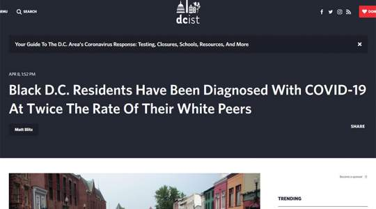 DCist - Black D.C. Residents Have Been Diagnosed With COVID-19 At Twice The Rate Of Their White Peers
