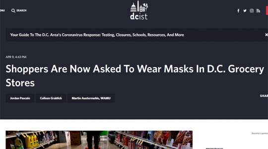 DCist - Shoppers Are Now Asked To Wear Masks In D.C. Grocery Stores