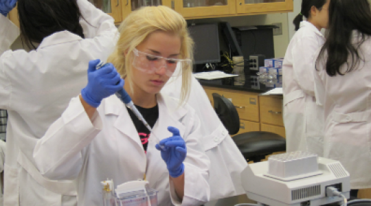 GO GIRL participant uses pipette