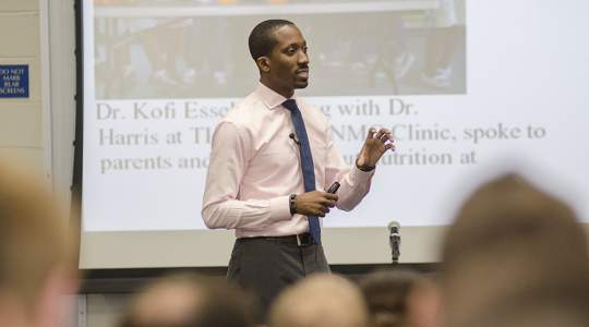 Kofi D. Essel, MD '11, MPH '17, FAAP, presents to GW medical students.
