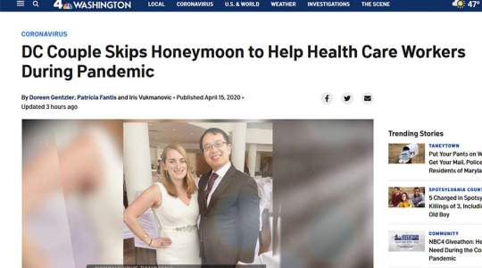 NBC4 - DC Couple Skips Honeymoon to Help Health Care Workers During Pandemic