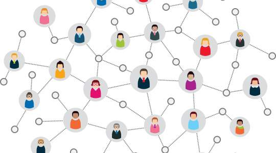 Illustration of people connecting virtually