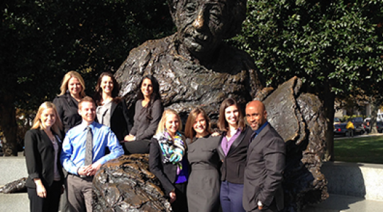 GW team poses with Albert Einstein statue
