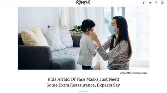 Romper - Kids Afraid Of Face Masks Just Need Some Extra Reassurance, Experts Say