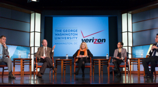 Jonathan Spalter, Richard Katz, Lynn Goldman, Ivor Braden Horn and Jinha Park discuss mHealth in the Jack Morton Auditorium on Wednesday.