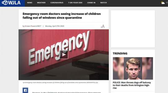 ABC7 - Emergency Room Doctors Seeing Increase of Children Falling Out of Windows Since Quarantine