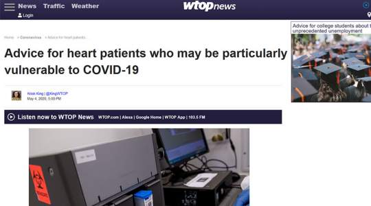 WTOP - Advice for Heart Patients Who May Be Particularly Vulnerable to COVID-19
