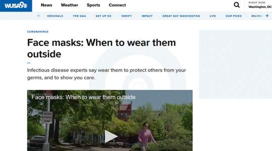 WUSA9 - Face Masks: When to Wear Them Outside