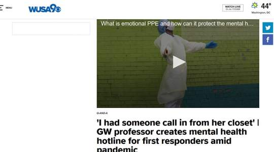 WUSA9 - GW Professor Creates Mental Health Hotline for First Responders Amid Pandemic