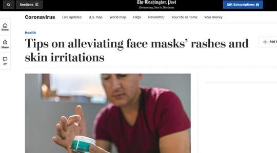 The Washington Post - Tips on Alleviating Face Masks' Rashes and Skin Irritations