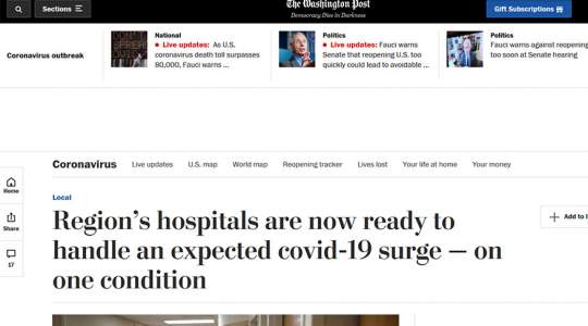 The Washington Post - Region's Hospitals are Now Ready to Handle an Expected COVID-19 Surge On One Condition