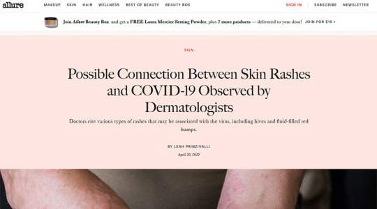 Allure - Possible Connection Between Skin Rashes and COVID-19 Observed by Dermatologists