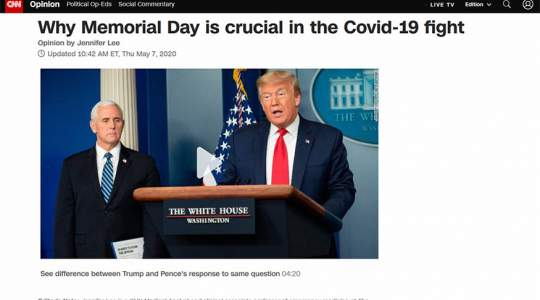 CNN - Why Memorial Day is Crucial in the COVID-19 Fight