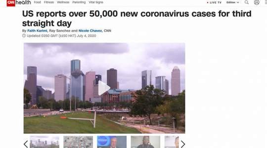 CNN - US Reports Over 50,000 New Coronavirus Cases for Third Straight Day