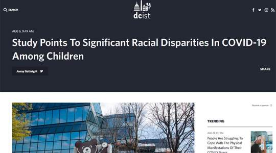 DCist - Study Points To Significant Racial Disparities In COVID-19 Among Children
