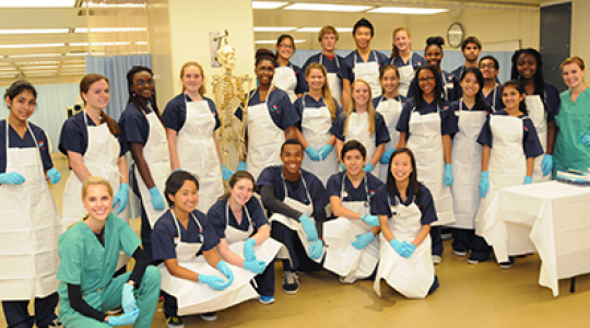Camp Cardiac students pose in lab