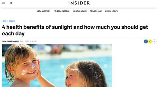 Insider - 4 Health Benefits of Sunlight and How Much You Should Get Each Day