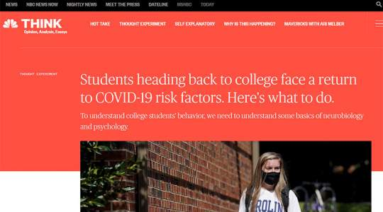 NBC News - Students Heading Back to College Face a Return to COVID-19 Risk Factors