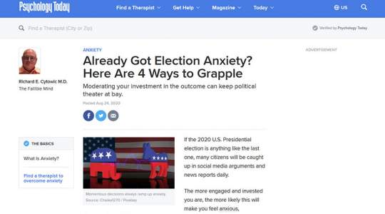 Psychology Today - Already Got Election Anxiety? Here Are 4 Ways to Grapple