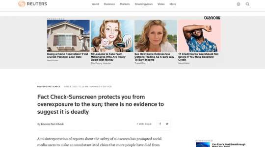 Reuters - Fact Check-Sunscreen Protects You From Overexposure To The Sun