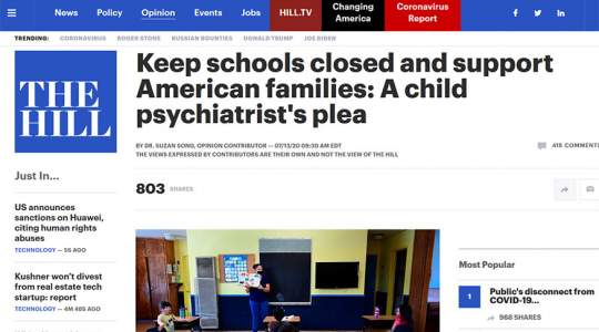 The Hill - Keep Schools Closed and Support American Families: A Child Psychiatrist's Plea